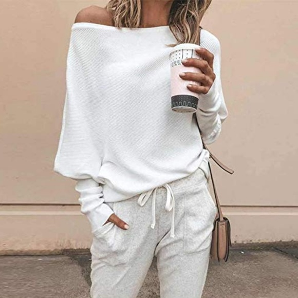 Boutique Tops - New Slouchy off shoulder knit sweater
